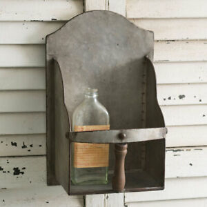 New Primitive Farmhouse Rustic Metal Grain Scoop Shelf Wall Hanging Sconce
