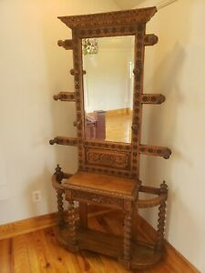 Antique Victorian Oak Hall Tree Umbrella Stand With Mirror Back