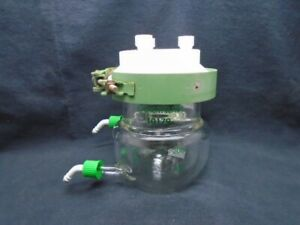 Chemglass 200ml Glass Jacketed Reaction Vessel Body Lid Gl14 And Clamp Cg 1926