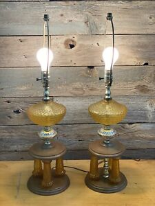 Pair Of Amber Glass Table Lamps Mid Century Modern Hollywood Regency
