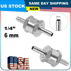 2 Pcs 6mm 1 4 Aluminium One Way Non Return Fuel Line Check Valve Petrol Diesel