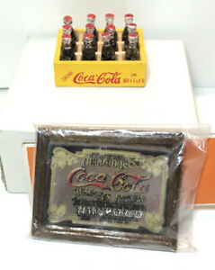 VINTAGE DOLLHOUSE MINIATURE COCA COLA WOODEN CRATE 12 BOTTLES REMOVABLE & MIRR