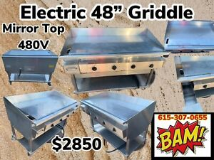Keating 48 Miraclean Electric 480v Griddle Mirror Clean Grill On Stand