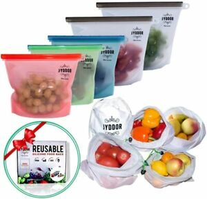 Zip Lock Reusable Food Container Storage Thick Freezer Bag 10pc