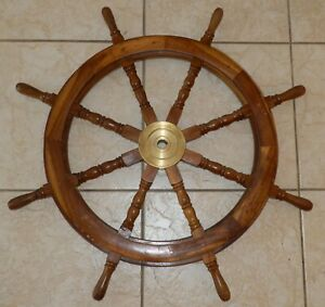 Authentic Antique 8 Spoke 36 Wood And Brass Nautical Captain S Ship Wheel