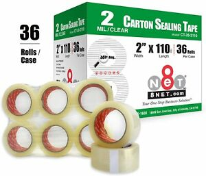 8net 36 Rolls 2mil 2 x110 Yds 330 Ft Clear Carton Sealing Packing Tape