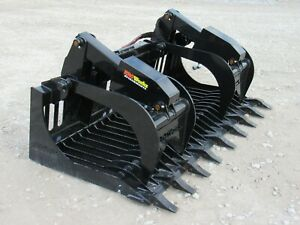 72 Dual Cylinder Root Rake Clam Grapple Kubota Kioti Tractor Loader Attachment