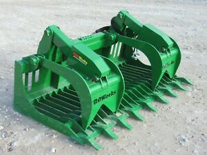 60 Dual Cylinder Root Rake Clam Grapple Kubota Kioti Tractor Loader Attachment