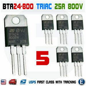 5pcs Bta24 800 Triac Thyristor 25a 800v St Bta24 800bw To 220