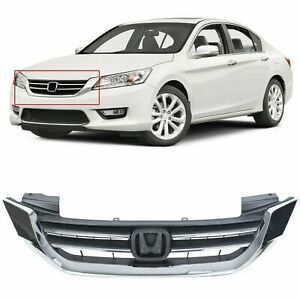 New Front Bumper Radiator Upper Chrome Grill For Honda Accord 2013 15 Us Stock