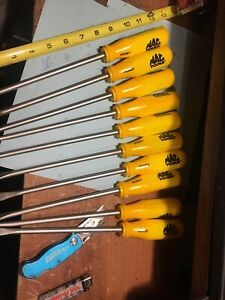 Lot Of 10 Mac Tools Yellow Screwdrivers Made In Germany Pch8y
