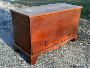 Antique American Cherry Blanket Chest With Drawers 1820s Era