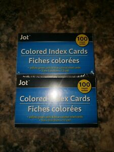 Lot Of 2 Jot Index Cards Assorted Colors Ruled 3 X 5 100 Ct Free Shipping