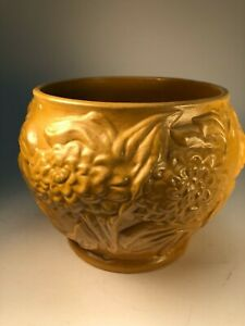 Vintage Arts and Crafts Yellow Matte Glaze Mums Old Pottery Jardiniere