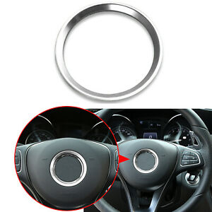 Silver Interior Steering Wheel Decor Cover Trim For Mercedes W205 W213 W117 X156