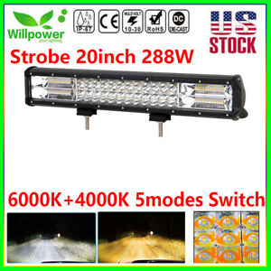 20inch 7d 288w Suv Atv Truck Off Road White Amber Car Dual Color Led Light Bar