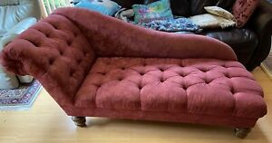 Antique Victorian Fainting Couch Chaise Lounge Chair Vintage Red Furniture