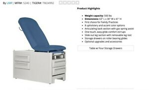 Umf Medical 5240 Exam Table Signature Series Obgyn Stirrups W Storage Blue