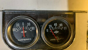 Vintage Amps Oil Set Gauge 70s Under Dash Mount Hotrod Muscle Car Rat