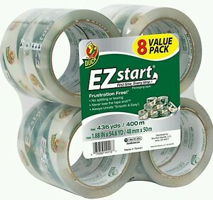 Duck Ez Start Quiet Packing Tape Set 1 88 In X 54 6 Yards Each 8 pack Packaging