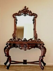 Mahogany Hand Crafted Vintage Hall Console Table Mirror Grape Carved