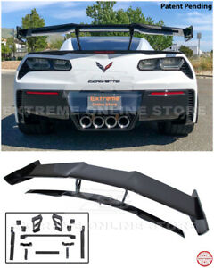 Zr1 Style Carbon Flash Rear Wing Spoiler With Bracket For 14 19 Corvette C7 Z06