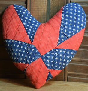 Primitive Small Quilt Heart Valentine Bowl Filler Cupboard Tuck Red Blue