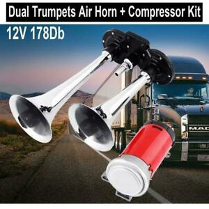 12v 178db Dual Trumpet Air Horn Compressor For Van Train Truck Boat Motorcycle