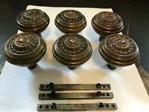 3 Pairs 6 Antique Art Craft Deco Victorian Cast Brass Bronze Door Knobs Hardware