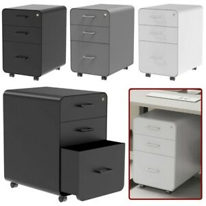 3 Drawer Rolling File Filing Cabinet Unit Lockable W Round Corners Home Office