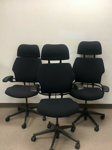 Humanscale Freedom Task Chair With Headrest Black Smooth Fabric Standard Arms