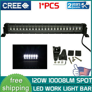 27INCH 120W Spot Led Flash Light Bar Single Row Off Road SUV ATV 12V 24V 26/28