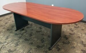 Conference Room Table 6 Chairs Lacquered Cherry Wood Finish