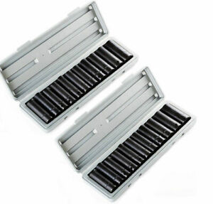 24pc 1 2 Dr Drive Deep Air Impact Socket Sockets Set Metric Mm Sae With Case