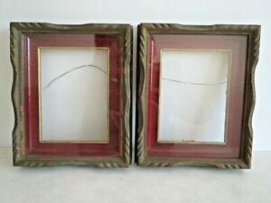 2 Antique Wood Picture Frames Raised Carving Wood Matt W Glass Little Gallery