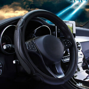 Us 38cm 15 Car Microfiber Leather Steering Wheel Cover Black For Bmw Benz Audi