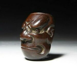 Japan Antique Meiji Era Human Men Signed Wood Netsuke Ojime Bead Inro Sagemono