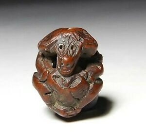 Japan Antique Meiji Period Wild Monkey Ojime Bead Wood Inro Netsuke Sagemono