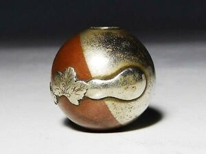 Japan Antique Meiji Period Silver Shakudo Dual Color Ojime Inro Netsuke Sagemono