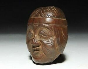 Japan Antique Netsuke Man Woman Face Omen Mask Inro Ojime Sagemono Rare Original