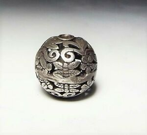 Japan Antique Meiji Period Silver 925 Arabesque Ojime Bead Netsuke Inro Sagemono