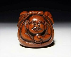 Japan Antique Netsuke God Hotei Bag Edo Era Inro Ojime Sagemono Rare Original