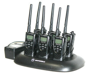 6 Motorola Cp100 2 way Radios With Chargers Vhf 15 Channel Walkie Talkies