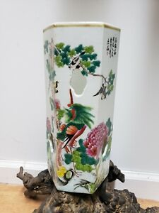 Antique Chinese Porcelain Famille Rose Hexagon Vase