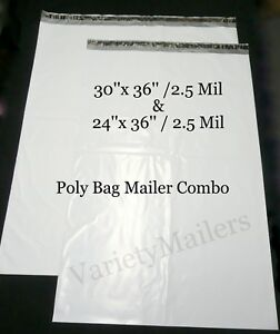 50 Poly Bag Mailer Combo Huge 24x36 30x36 2 5 Mil Quality Envelope Bags