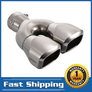 Dual Square Exhaust Tip 2 5 Inlet 2 4 x2 Outlet 9 5 Length Stainless Steel