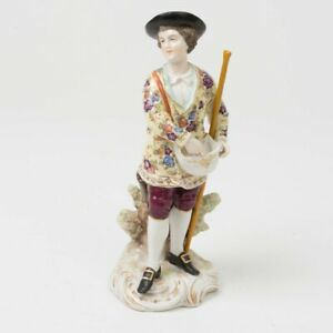 Antique Late 19th C Porcelain Figurine Man W Hat Staff 8 Tall Signed Germany