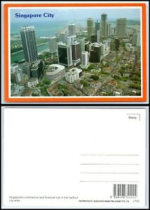 SINGAPORE Postcard - Aerial View Commercial & Financial Hub Harbor CW $2.99
