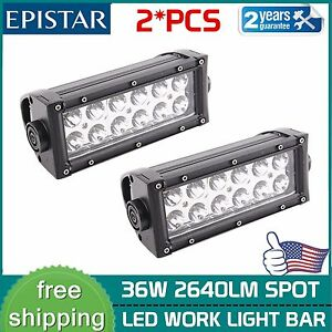 2x 8 Inch 36w Led Work Light Bar Spot Lamp Offroad Car Boat Driving 4wd Trailer