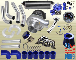 01 05 Civic 1 7l Ex Dx Lx T04e Turbocharger Turbo Kit Blue Manifold Bov Wg Gauge